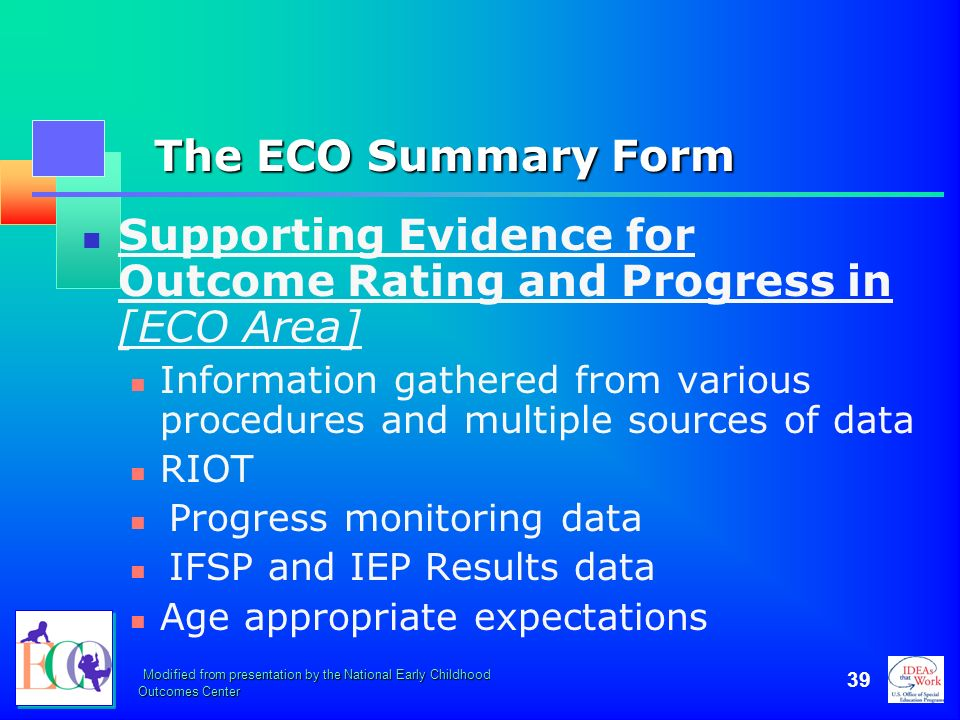 Supporting Evidence for Outcome Rating and Progress in [ECO Area]